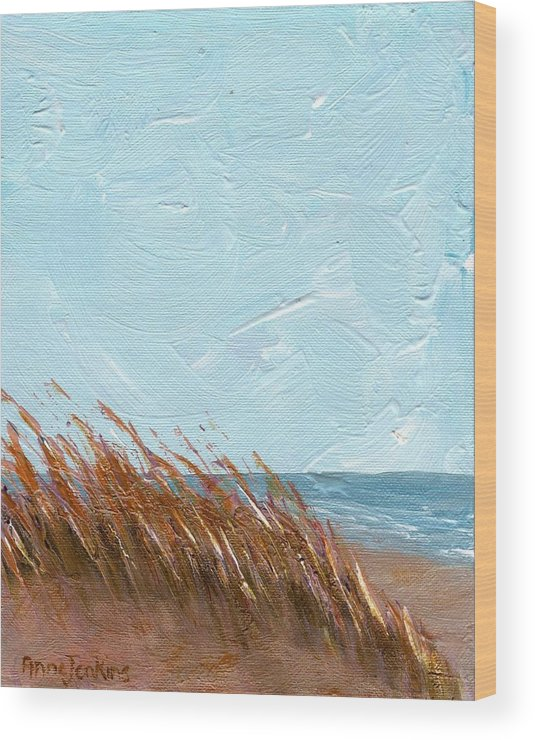 Georgia Wood Print featuring the painting Sea Grass On Tybee Island by Anne Jenkins