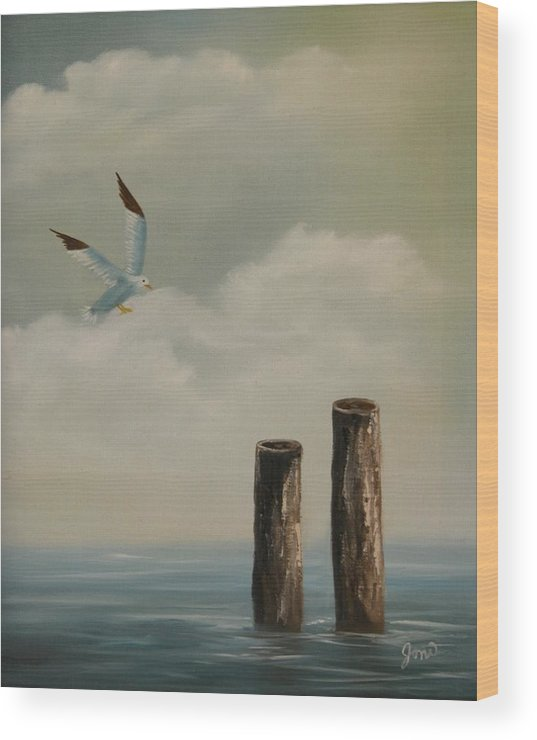 Seascape Wood Print featuring the painting Seagull Landing by Joni McPherson