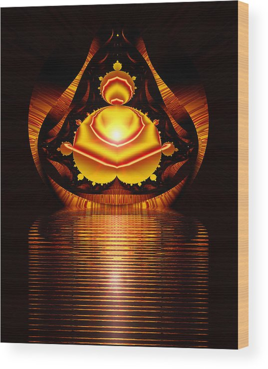 Digital Wood Print featuring the digital art Seated Buddha by Roger Soule