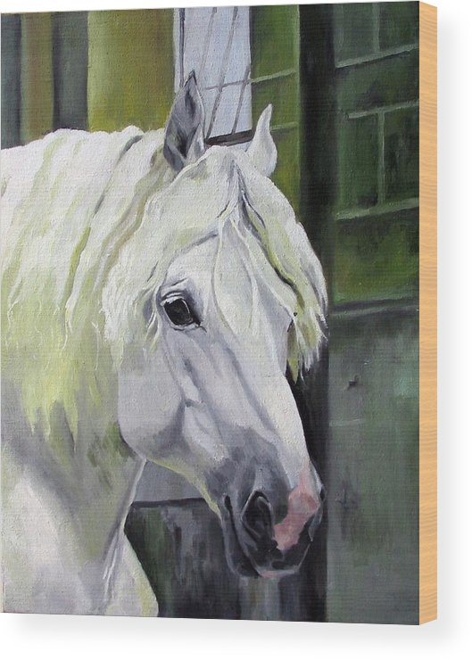 Horse Wood Print featuring the painting Shadowfax by Nel Kwiatkowska