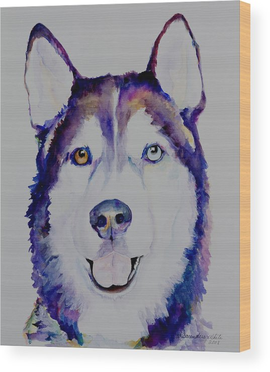Siberian Husky Wood Print featuring the painting Simba by Pat Saunders-White