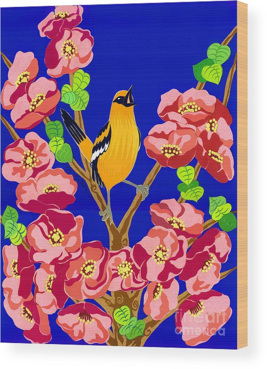 Nature Wood Print featuring the drawing Singing Oriole by Lucyna A M Green