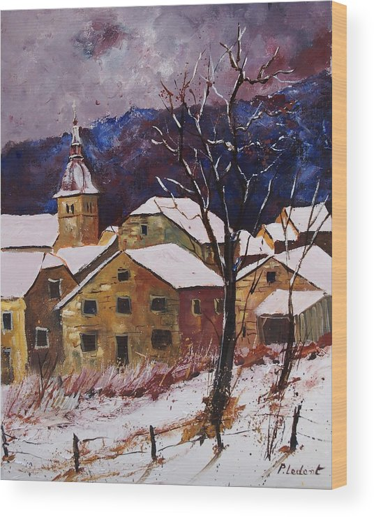 Landscape Wood Print featuring the painting Snow In Chassepierre by Pol Ledent
