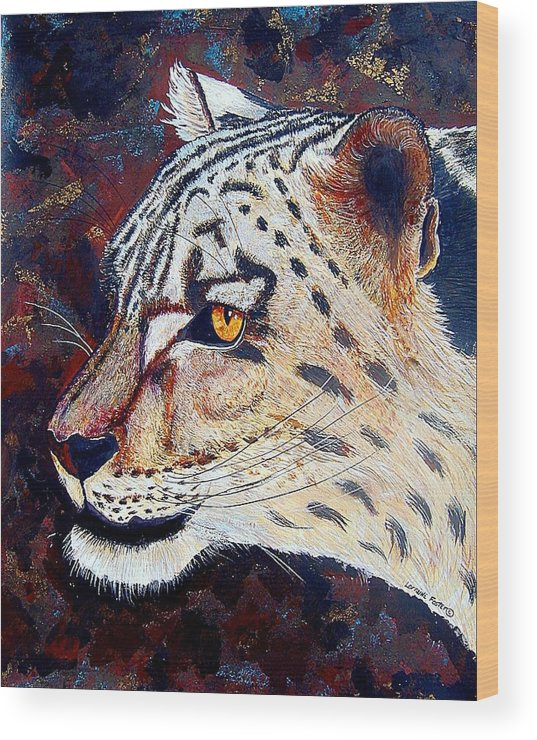 Wood Print featuring the mixed media Snow Leopard by Lorraine Foster