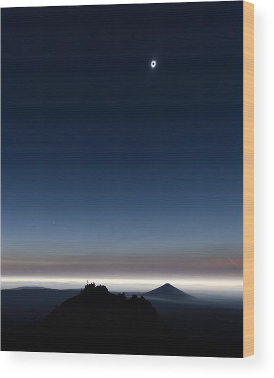 Sun Wood Print featuring the painting Solar Eclipse, Corona by Celestial Images