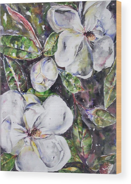 Magnolia Wood Print featuring the painting Sold Steal Magnolias by Amanda Sanford
