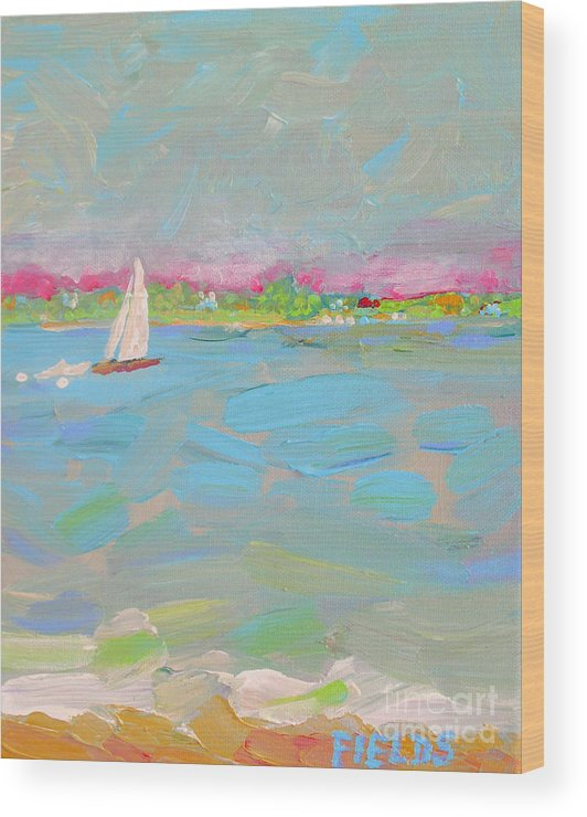 Sailboat Wood Print featuring the painting Solo Sail by Karen Fields