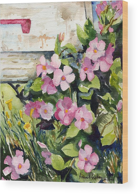 Floral Wood Print featuring the painting Special Delivery by Anne Rhodes