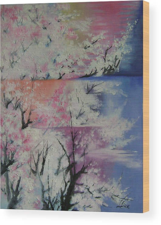 Abstract Wood Print featuring the painting Spring by Lian Zhen