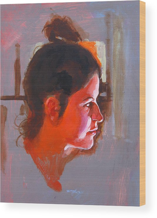Portrait Wood Print featuring the painting Stephanie by John Tartaglione