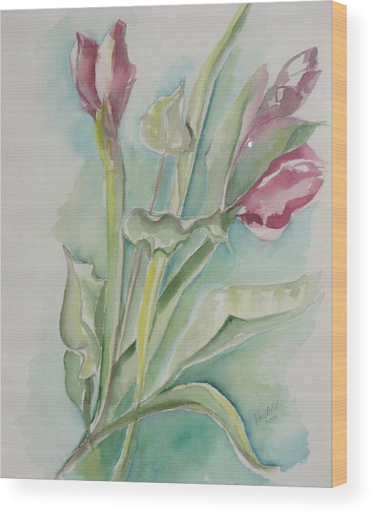 Floral Wood Print featuring the painting Still Life Spring by Kathy Mitchell