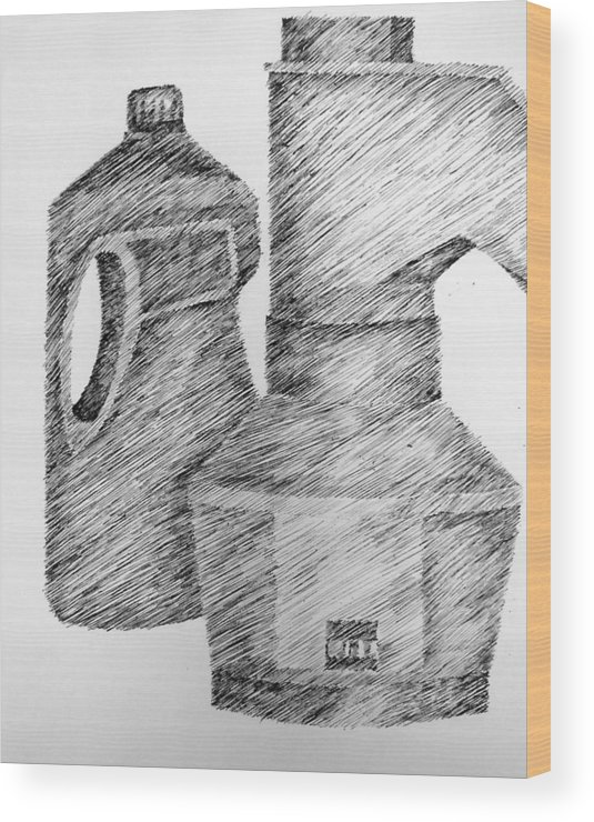 Still Life Wood Print featuring the drawing Still Life With Popcorn Maker And Laundry Soap Bottle by Michelle Calkins