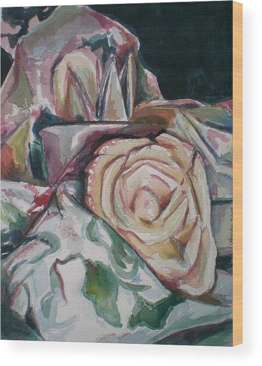 Still Life Wood Print featuring the painting Still Life With Yellow Rose by Aleksandra Buha