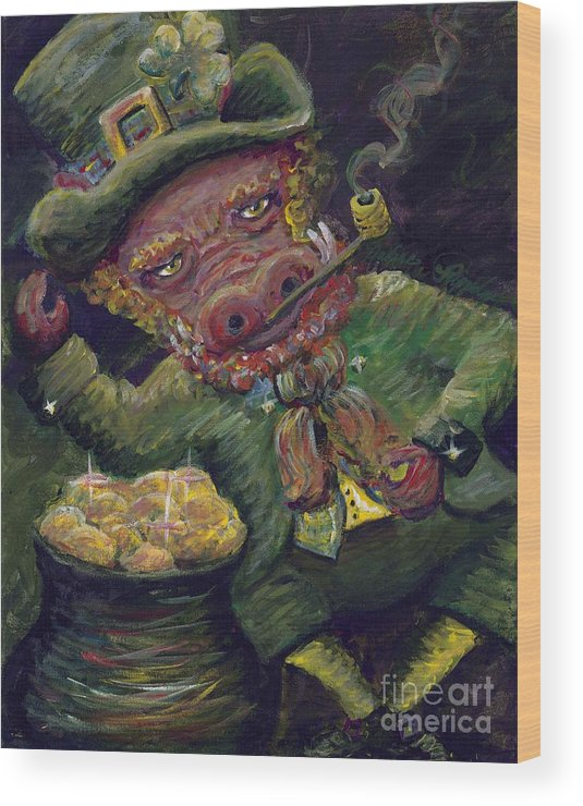Hog Wood Print featuring the painting St.patricks Day Pig by Nadine Rippelmeyer