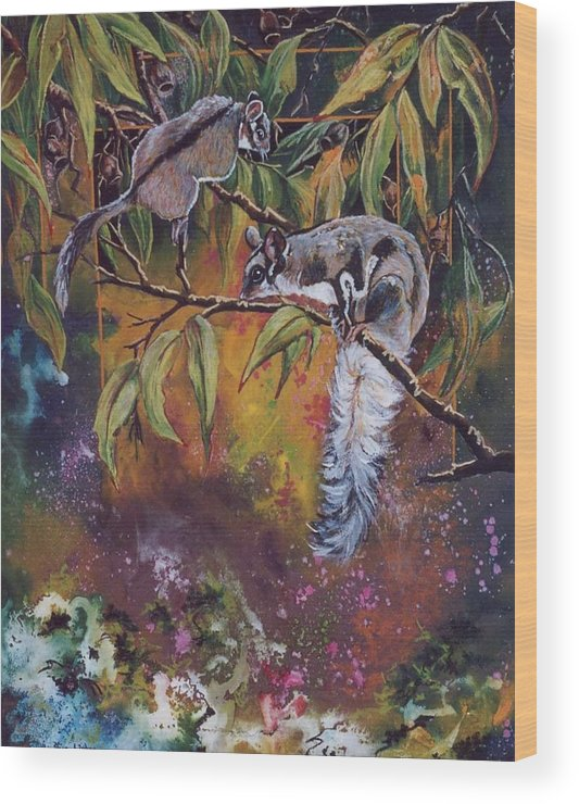 Sugar Gliders Wood Print featuring the painting Sugar Gliders by Sue Linton