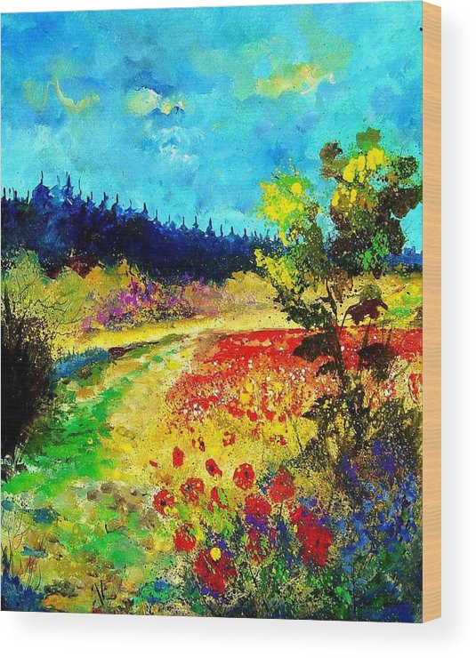 Flowers Wood Print featuring the painting Summer by Pol Ledent