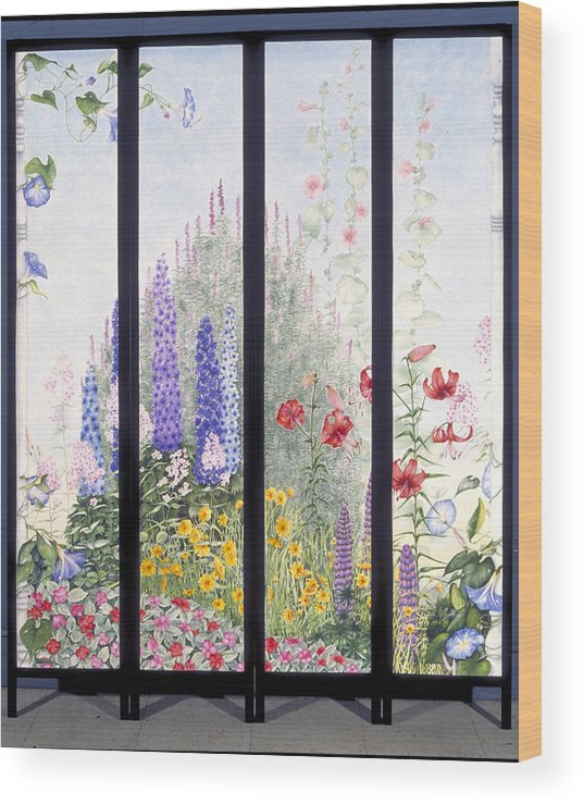 Garden Wood Print featuring the painting Summerscreen by Nancy Ethiel