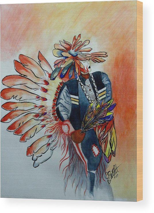 American Wood Print featuring the painting Sun Dancer by Jimmy Smith