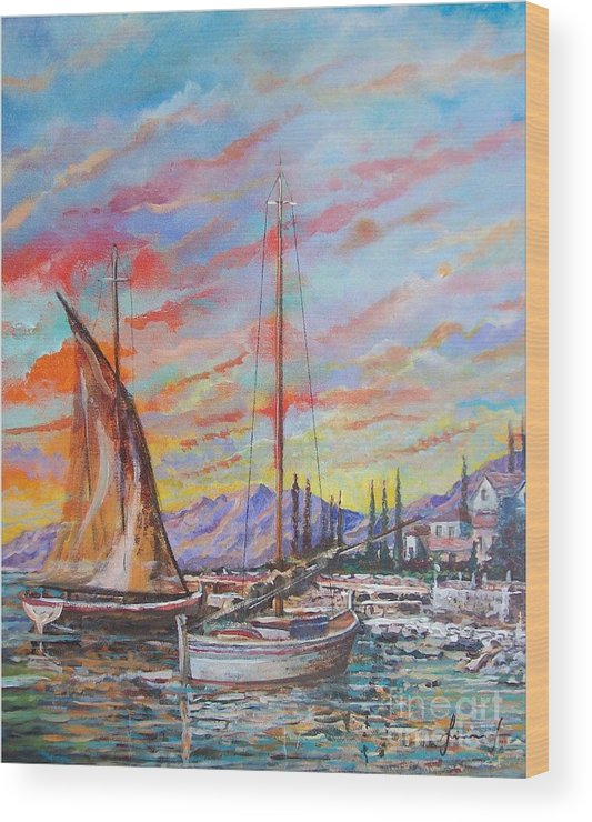 Original Painting Wood Print featuring the painting Sunset by Sinisa Saratlic
