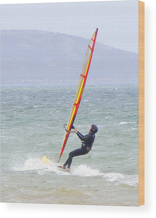 Surfer Wood Print featuring the photograph Surfer On Mar Menor by Jacqueline Essex