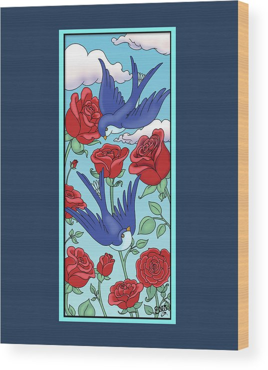 Birds Wood Print featuring the digital art Swallows And Roses by Eleanor Hofer