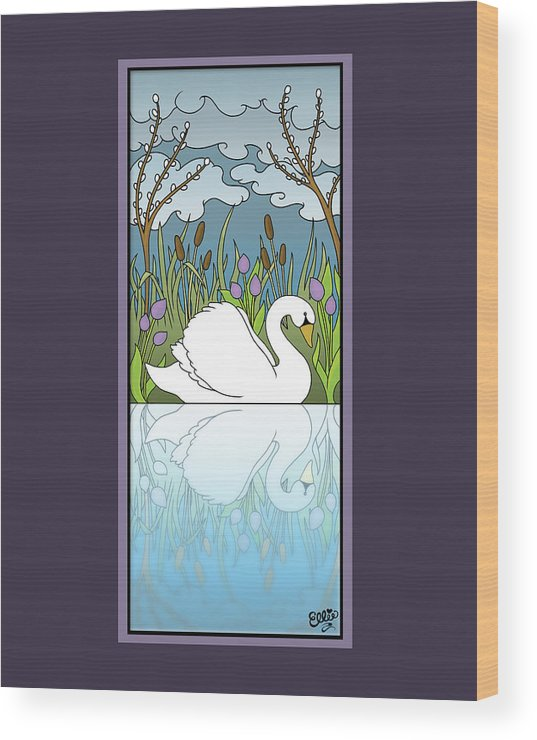 Swan Wood Print featuring the digital art Swan On The River by Eleanor Hofer