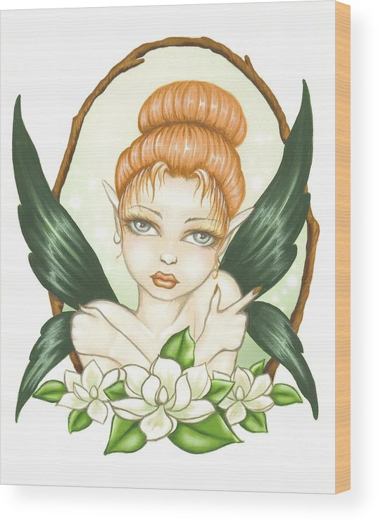 Magnolia Wood Print featuring the painting Sweet Magnolia Fae by Elaina Wagner