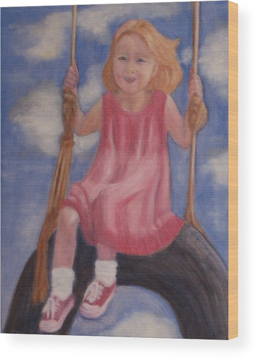 Child Wood Print featuring the painting Swingin by Patricia Ortman