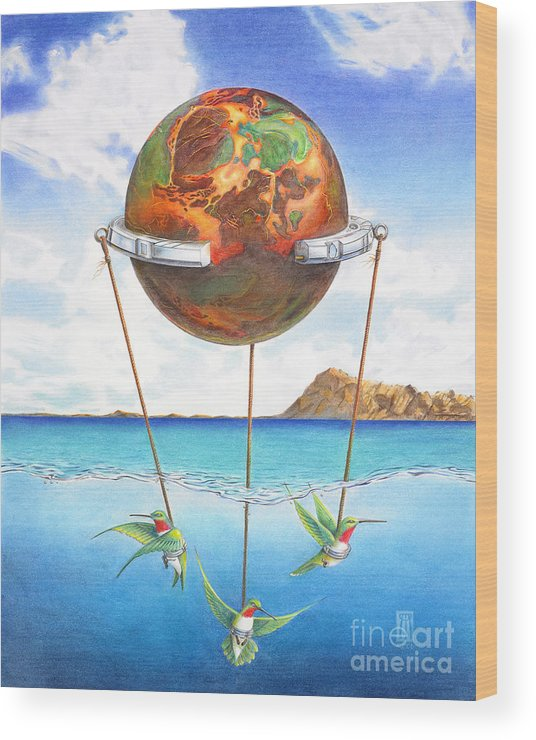 Surreal Wood Print featuring the painting Tethered Sphere by Melissa A Benson