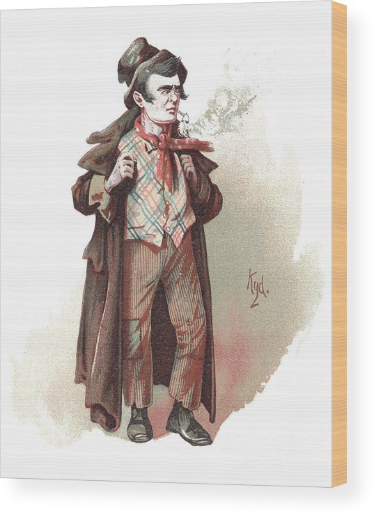 Antique Wood Print featuring the drawing The Artful Dodger by Joseph Clayton Clarke