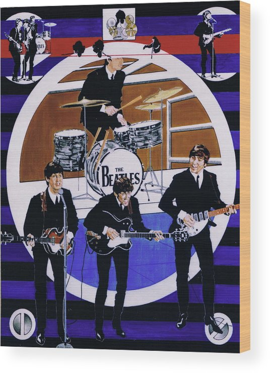 1960s Wood Print featuring the drawing The Beatles - Live On The Ed Sullivan Show by Sean Connolly