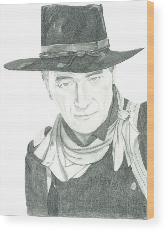 John Wayne Wood Print featuring the drawing The Duke by Seventh Son