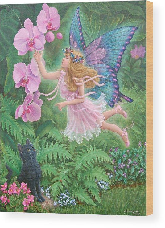 Fantasy Wood Print featuring the painting The Fairy Princess Jasmine by Johanna Girard