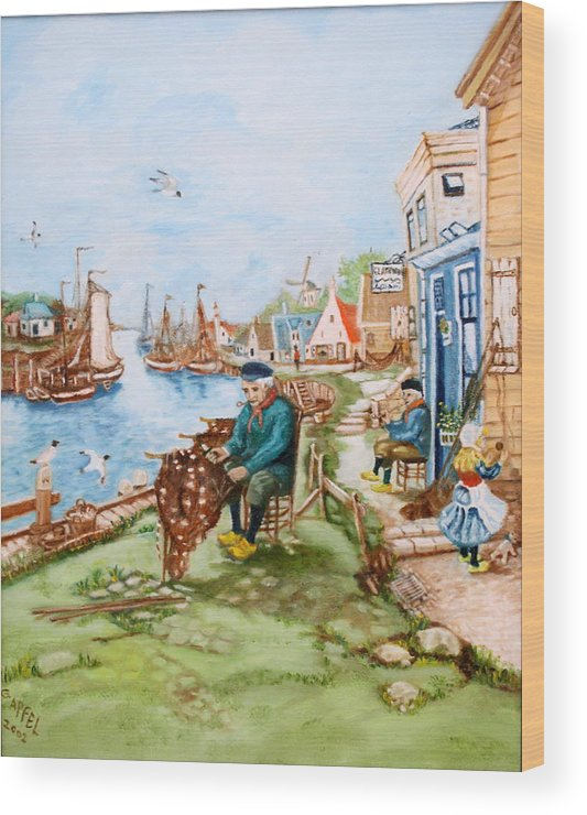 Fishing Village Dock Seascape.sailboats.nets Wood Print featuring the painting The Fisherman by Gloria M Apfel