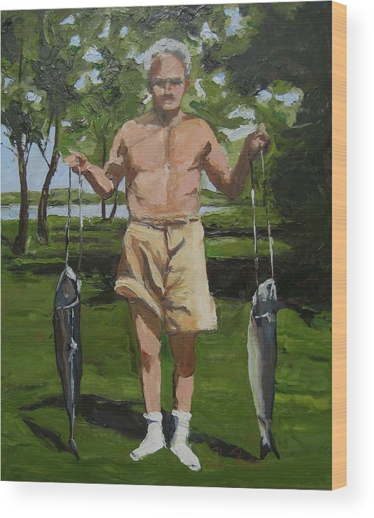 Figure Wood Print featuring the painting The Fisherman by Paula Stern
