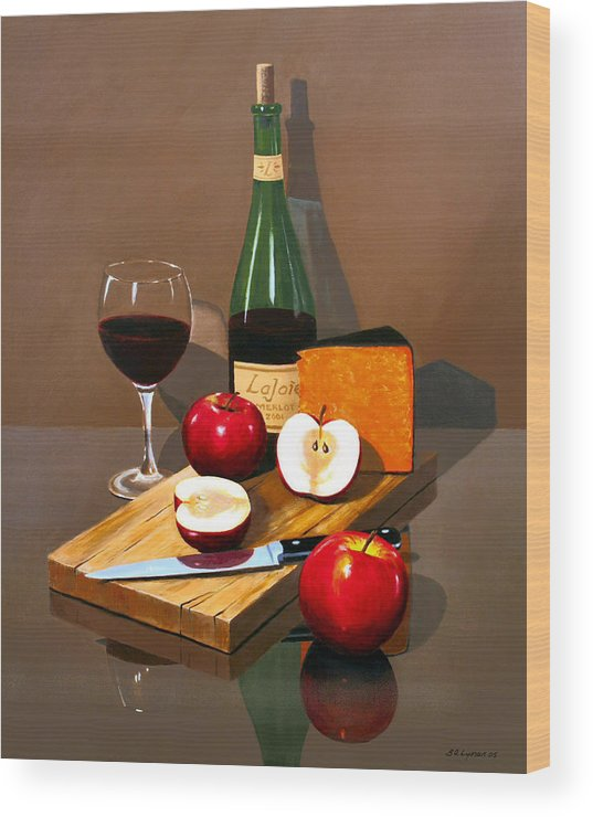 Still Life Wood Print featuring the painting The Good Life by Brooke Lyman