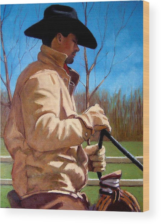 Horse Wood Print featuring the pastel The Horse Trainer No. 2 by Joyce Geleynse