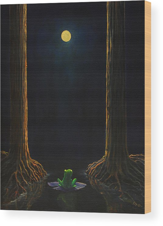 Landscape Animal Frog Trees Mystic Wood Print featuring the painting The Little Frog by Craig shanti Mackinnon