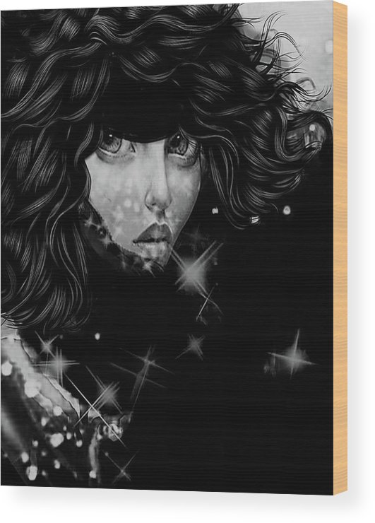 Artis Muse Wood Print featuring the painting The Moon And The Stars Are In Her Sights. by Lea Davis