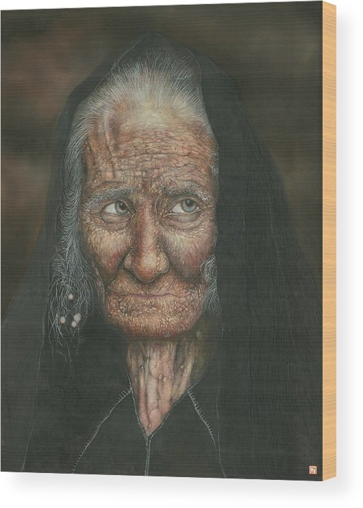 Lighthouse Wood Print featuring the painting The Old Lady by Connor Maguire