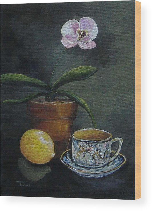 Orchid Wood Print featuring the painting The Orchid And The Dragon by Torrie Smiley