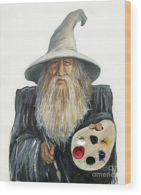 Wizard Wood Print featuring the painting The Painting Wizard by J W Baker