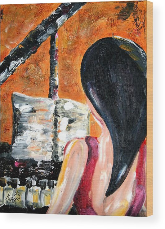 Piano Wood Print featuring the painting The Pianist by Maryn Crawford