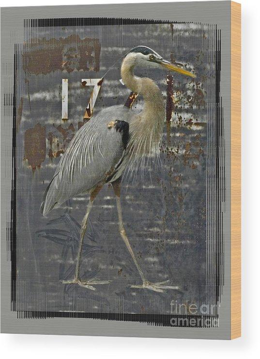 Bird Wood Print featuring the digital art The Sentinel by Chuck Brittenham