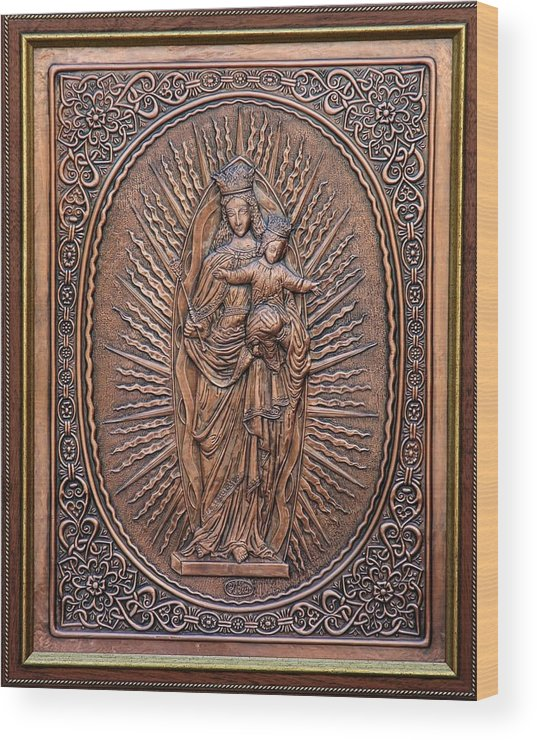 Reliefs Wood Print featuring the relief The Virgin Mary With Jesus Christ by Netka Dimoska