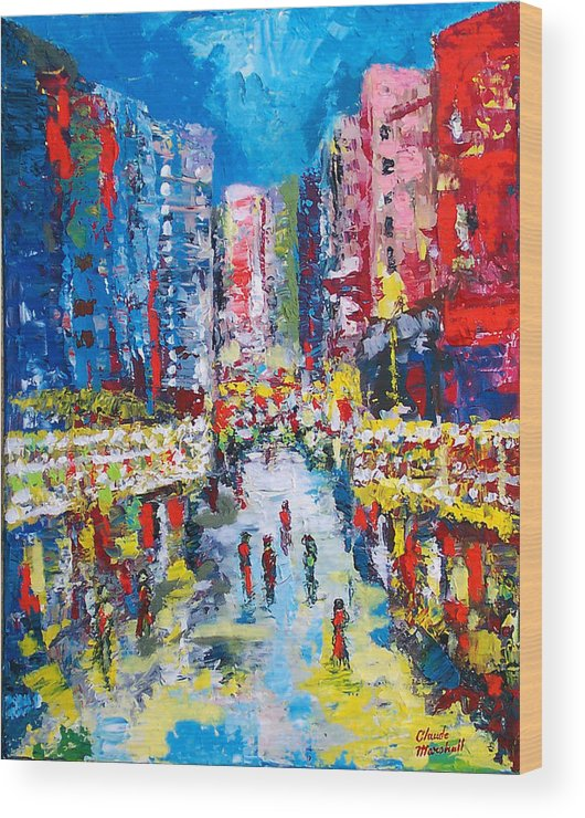 Abstract Wood Print featuring the painting Theatre Street by Claude Marshall