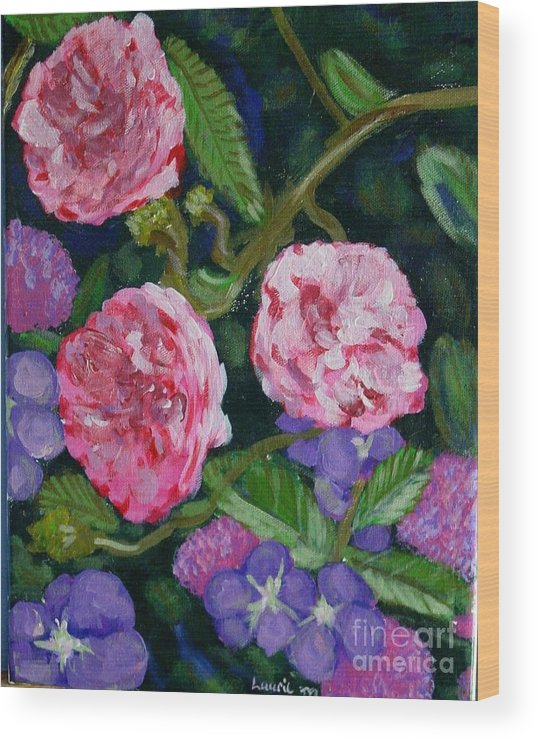 Roses Wood Print featuring the painting Three For The Show by Laurie Morgan