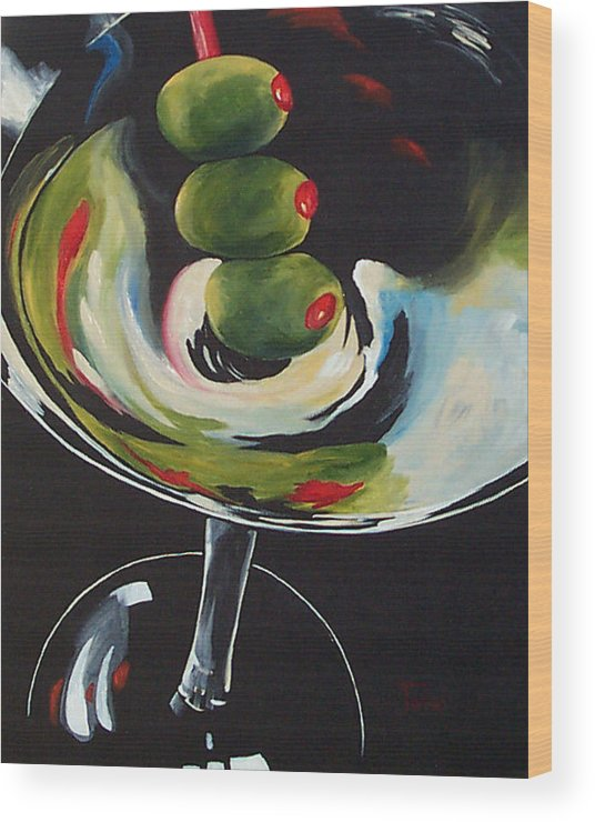Martini Wood Print featuring the painting Three Olive Martini IIi by Torrie Smiley