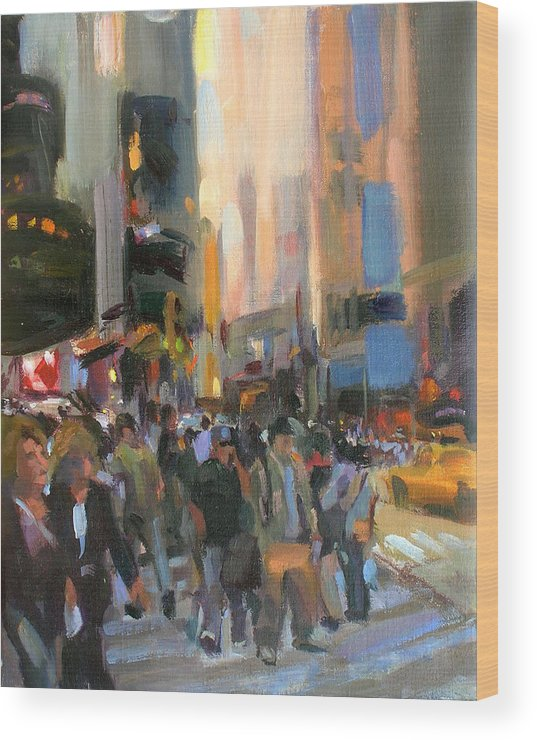 New York Wood Print featuring the painting Times Square by Merle Keller