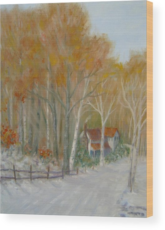 Country Road; House; Snow Wood Print featuring the painting To Grandma's House by Ben Kiger